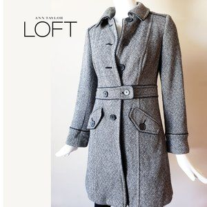 Tweed Collared Trench Coat Size 2 by Loft